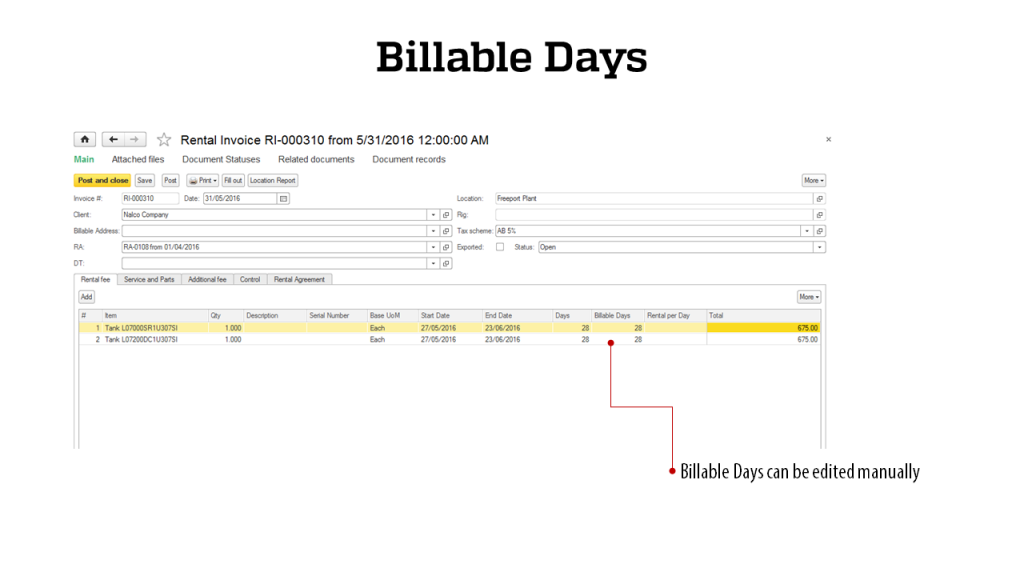 Billable Days - RigER - Oilfield Rental Software