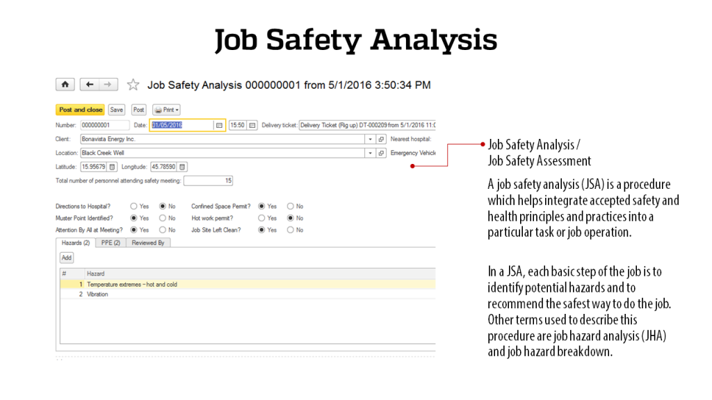 Job Safety Analysis - RigER - Oilfield Rental Software
