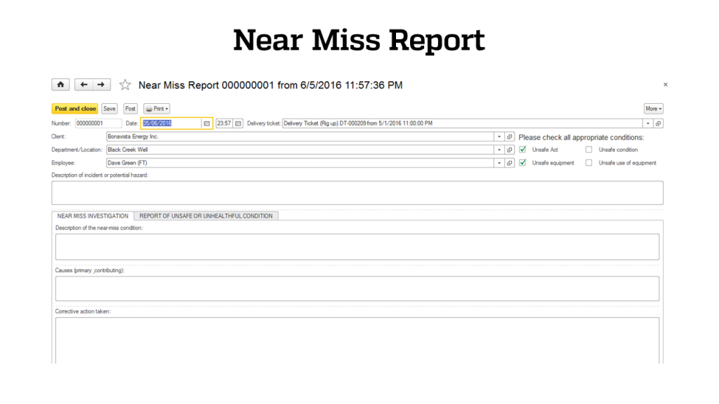 Safety - Near Miss Report- RigER - Oilfield Rental Software